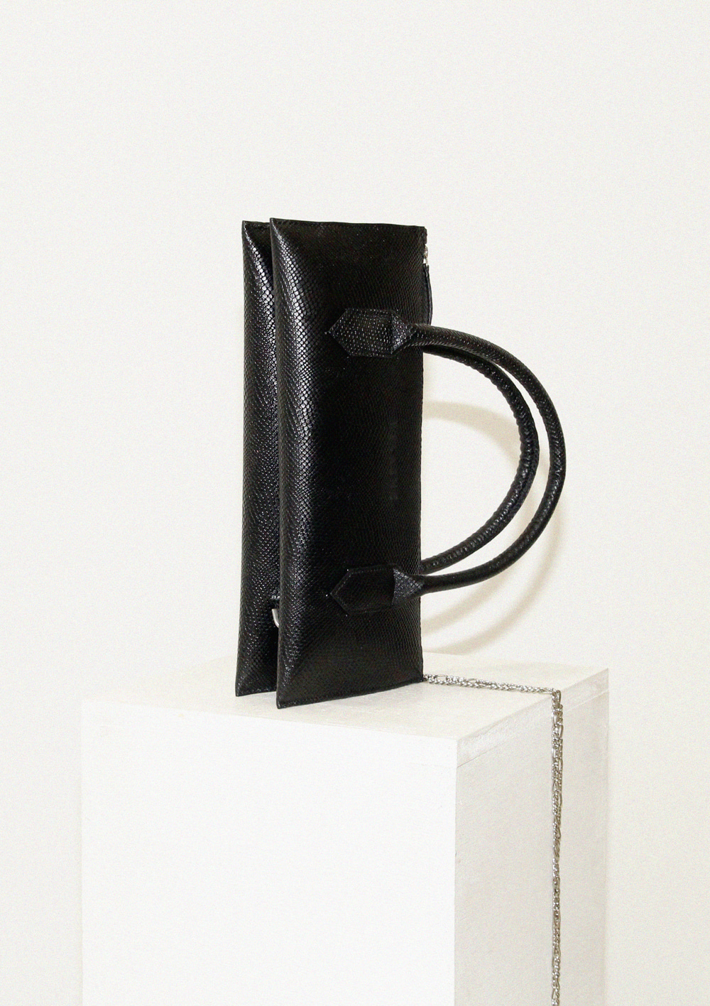 Snake embossed leather handbag